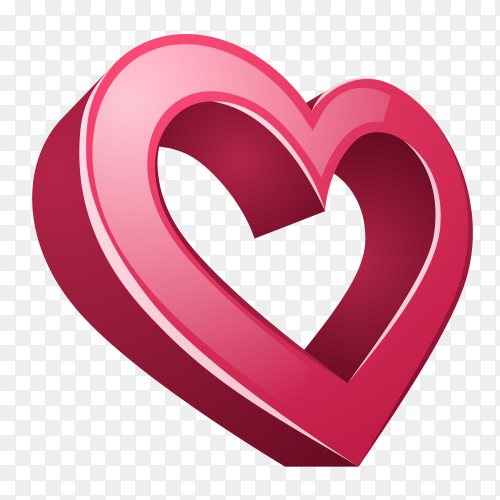 Realistic 3D icon heart love on transparent PNG