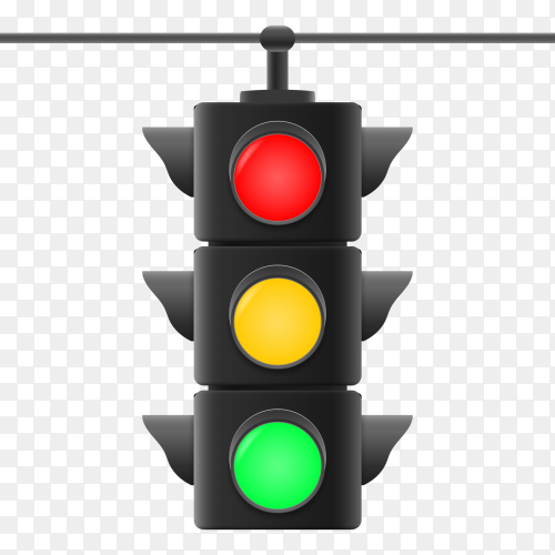 Realistic 3rd traffic lights on transparent background PNG