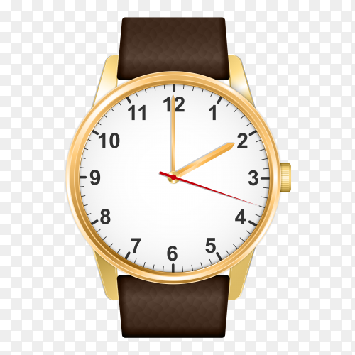 Realistic Brown watch on transparent background PNG