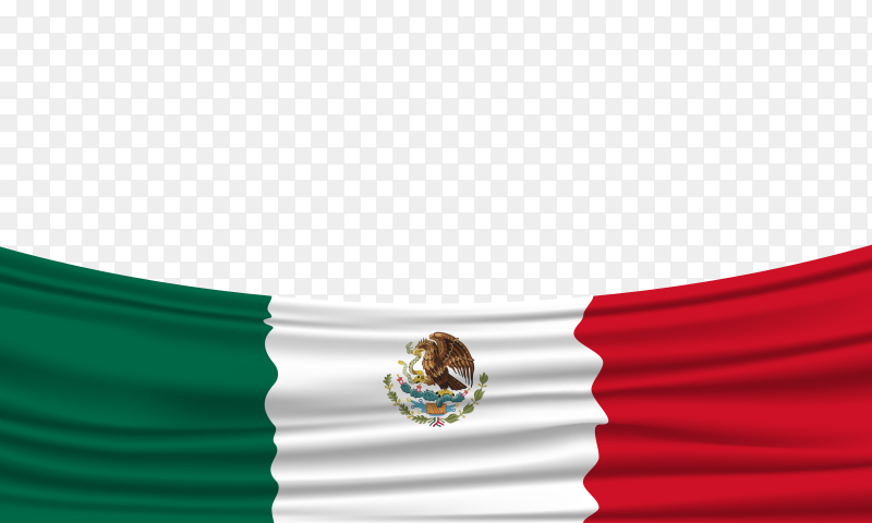 Realistic Mexican flag on transparent background PNG