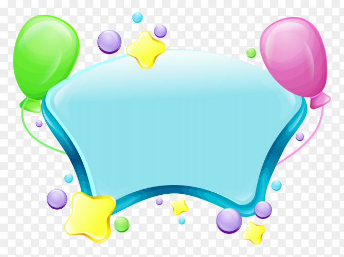 Realistic balloons with blank paper Clipart PNG