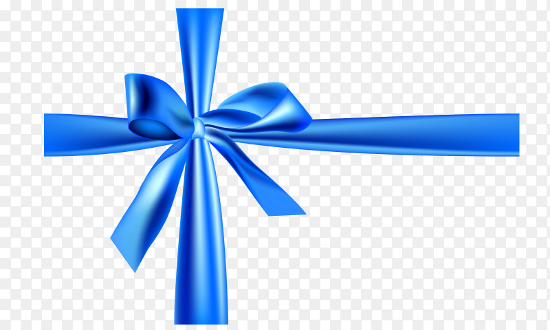 Realistic blue bow and ribbon on transparent PNG