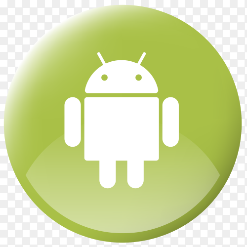 Realistic button Android logo on Transparent PNG