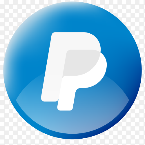 Realistic button Paypal logo on Transparent PNG