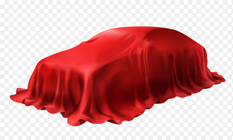 Realistic car covered with red silk isolated white background on transparent background PNG