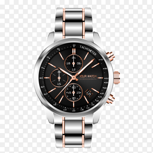 Realistic clock chronograph steel copper with transparent PNG