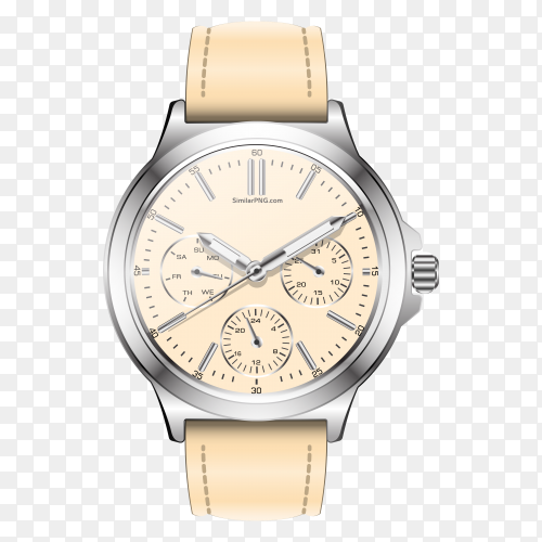 Realistic clock watch chronograph pastel Beige on transparent PNG