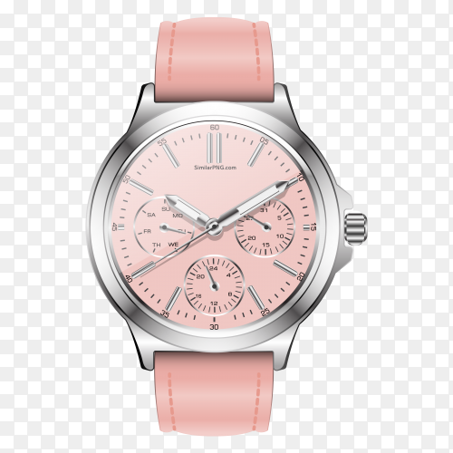 Realistic clock watch chronograph pastel pink with transparent PNG