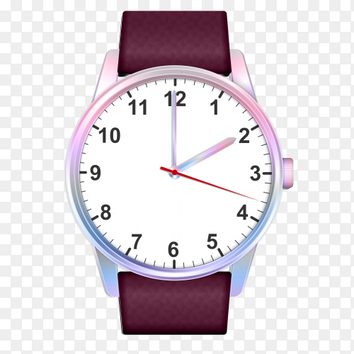 Realistic colorful watch with transparent PNG