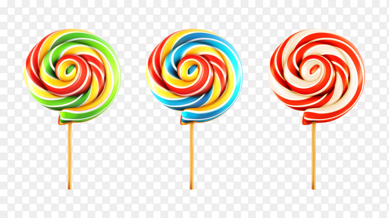 Realistic lollipops on transparent background PNG