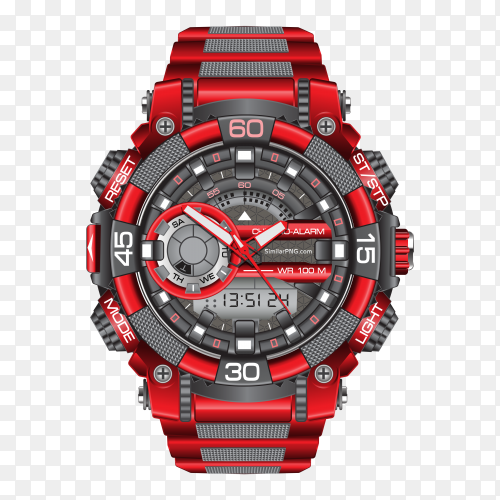 Realistic red grey watch clock chronograph vector PNG
