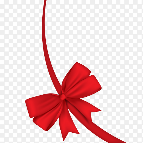 Realistic red ribbon vector PNG