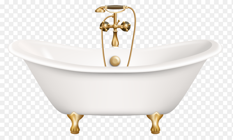 Realistic retro bathtub on gold vector PNG