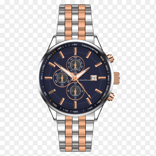Realistic watch clock chronograph stainless steel copper with transparent PNG