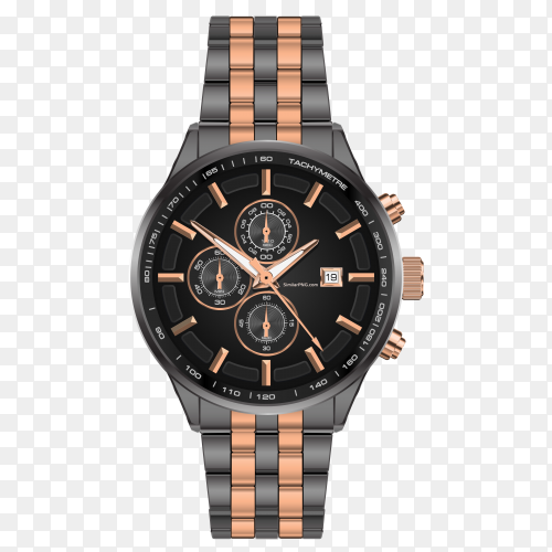 Realistic watch clock chronograph steel grey copper vector PNG