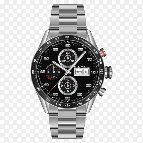 Realistic watch clock chronograph steel with transparent PNG