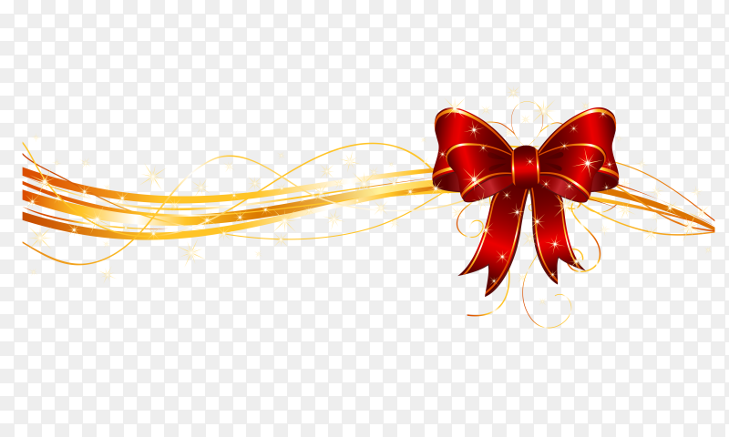 Red Bow with Ribbon vector PNG
