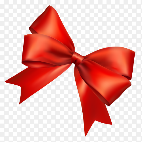 Red bow and ribbon on transparent background PNG