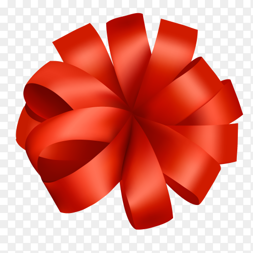 Red bow for presents realistic design vector PNG