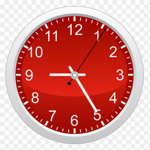 Red circal wall clock vector PNG