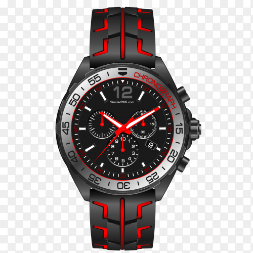 Red grey steel watch clock chronograph white vector PNG