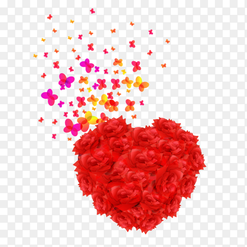 Red heart flowers on transparent background PNG