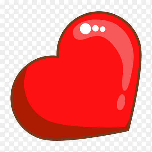 Red heart leaned premium clipart PNG