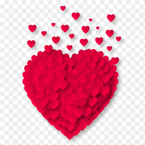 Red heart with fully love emotions on Transparent PNG