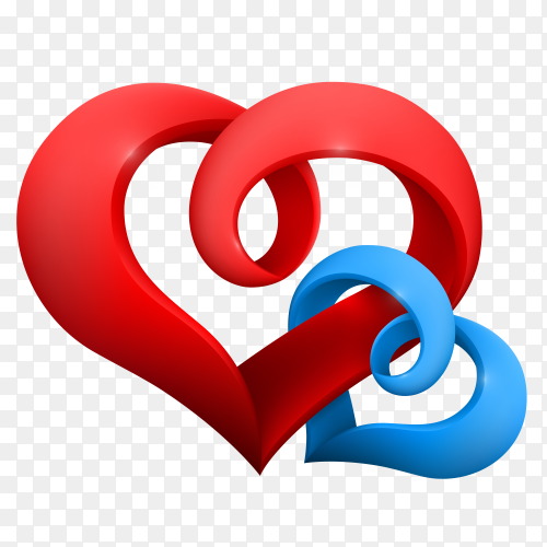 Red heart with fully love expressions on Transparent background PNG