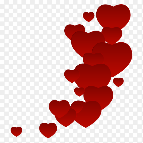 Red hearts with emotional expression on Transparent PNG
