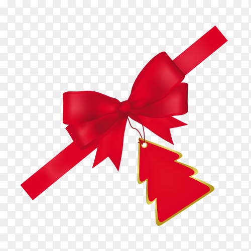 Red ribbon with bow on transparent PNG