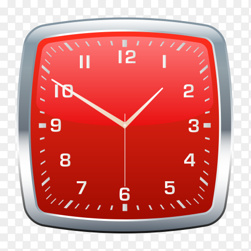 Red wall clock on transparent PNG