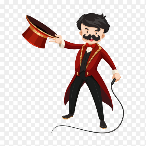 Ring master with whip cartoon Clipart PNG