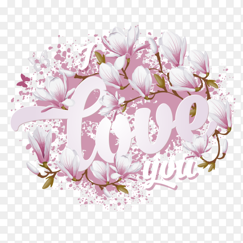 Rose flowers with word love on transparent PNG