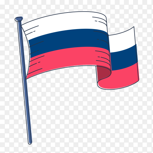 Russia hand drawn flag with watercolors on transparent PNG