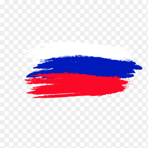 Russian flag brush drawing with transparent background PNG