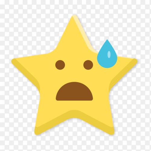 Sad star emoji with sweat vector PNG