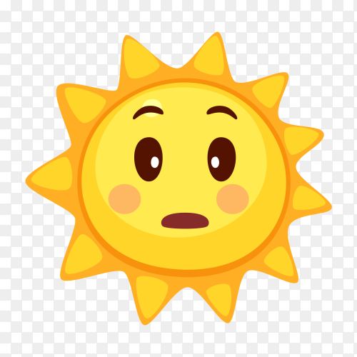 Sad sun emoji vector PNG