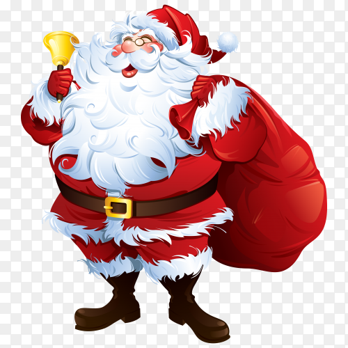 Santa Claus carrying Bell and gifts vector PNG