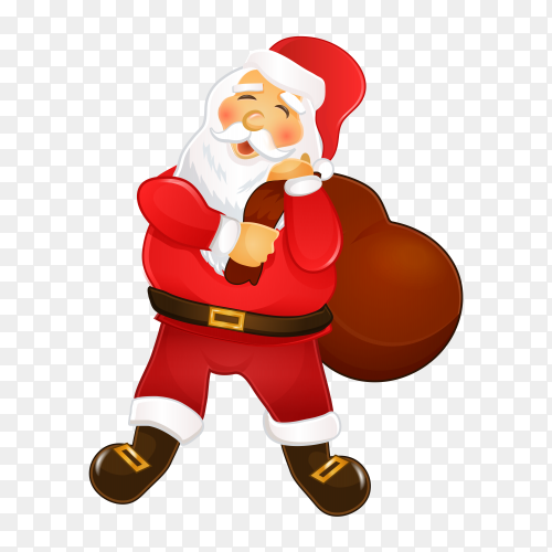 Santa Claus carrying gifts on transparent background PNG