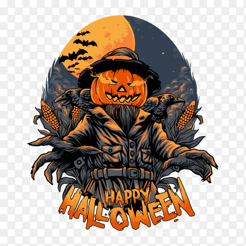 Scarecrow halloween character Clipart PNG