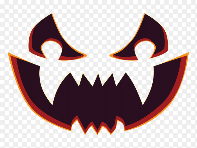 Scary pumpkin face on transparent background PNG