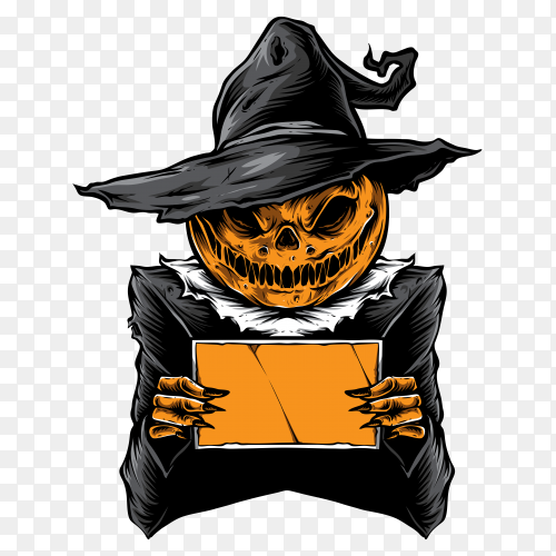 Scary pumpkins holding card on transparent PNG