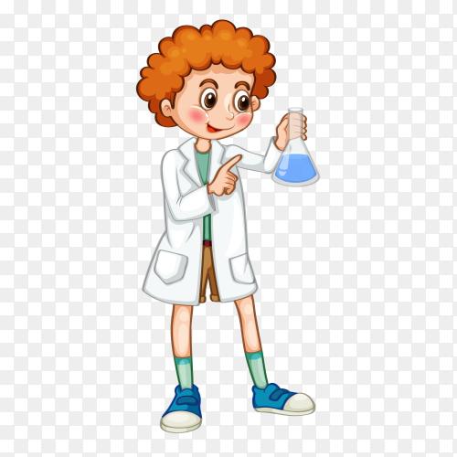 Science kid on transparent background PNG