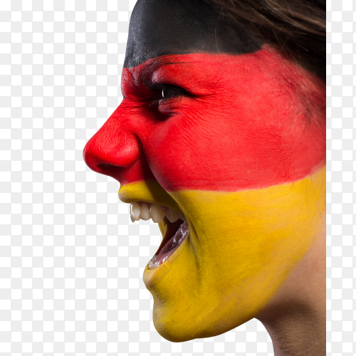 Screaming girl with painted face by Germany flag clipart PNG