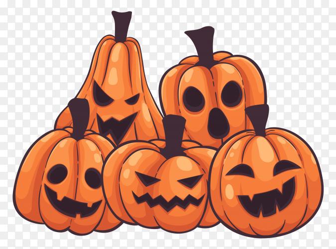Set halloween pumpkins vector PNG
