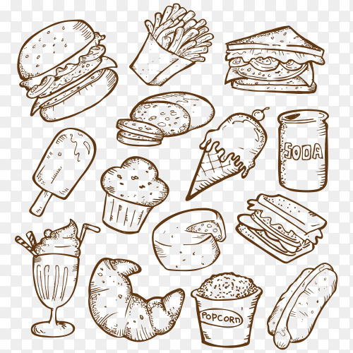 Set junk food doodles transparent PNG
