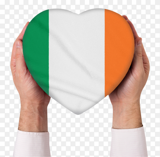 Shaped heart of ireland flag held with hands on transparent PNG
