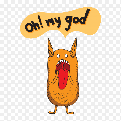Shocked Monster show tongue On transparent Background PNG