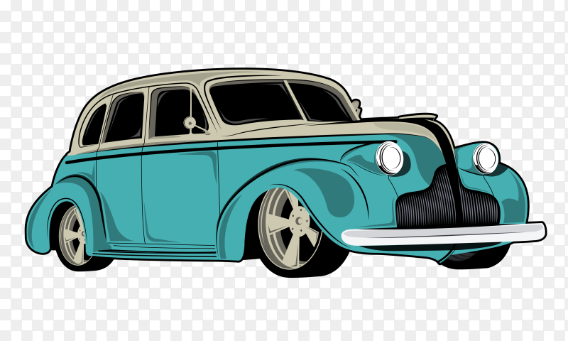 Show classic cars vector car illustrations on transparent background PNG